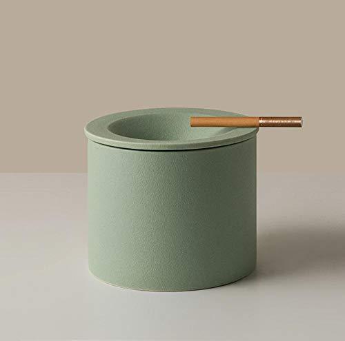 Jarrón de cenicero de cerámica con tapa, oficina en casa, decoración de escritorio, adornos, cenicero, maceta, sala de estar, decoración de mesa, regalo de amigo