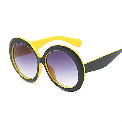 FDNFG Gafas de Sol Vintage Gafas de Sol Redondas Mujeres de Lujo Degradado de Gran tamaño Gafas de Sol Trasas de Moda de Moda Diseñador de Moda Gafas de Sol (Lenses Color : Black Yellow)