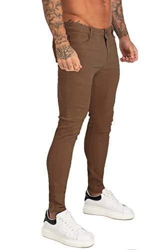 GINGTTO Jeans Men Skinny Slim Fit Elastic Waist Super Stretch (32W x 30L, Brown)
