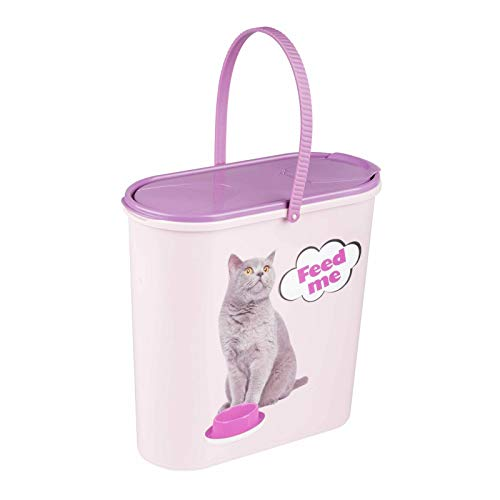 4BIG.fun 6 Liter Trockenfutterbehälter Katze Leckerlis Welpe Hund Kitte Futter Box Deckel lila