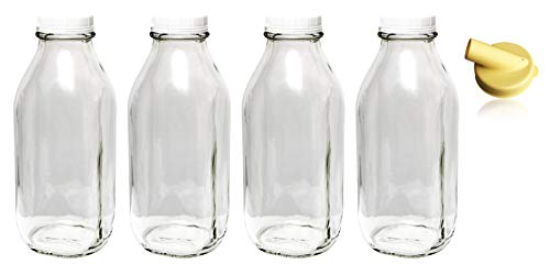 The Dairy Shoppe Heavy Glass Milk Bottles 64 Oz Jugs (2 Quart) with Extra Lids and FREE Pour Spout! (4, 64 oz)