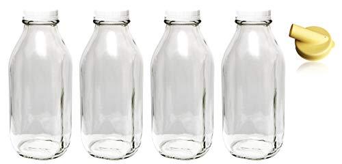 The Dairy Shoppe Heavy Glass Milk Bottles 33.8 Oz (1 Ltr) Jugs with Extra Lids & NEW Pour Spout! (4, 33.8 oz)