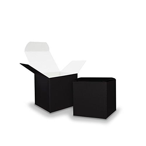 50x itenga GeschenkSchachtel aus Karton zum Befüllen (Adventskalender Gastgeschenk, Hochzeit Taufe Geburt) (Würfel 5x5cm, schwarz)