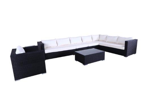 Polyrattan Luxus Lounge Ecksofa Gold Coast XL (Schwarz)
