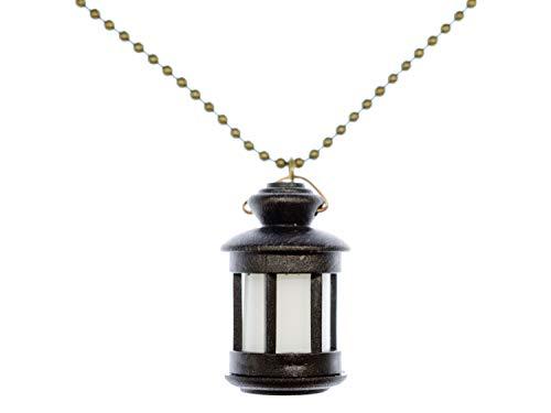 Miniblings Laterne Kette 80cm Licht Leuchte Lampe Windlicht Kerze Kawaii Schwarz - Handmade Modeschmuck - Kugelkette versilbert