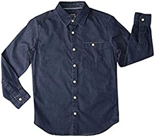 DJ & C By Fbb Chevron Print Relaxed Fit Poplin Shirt Indigo