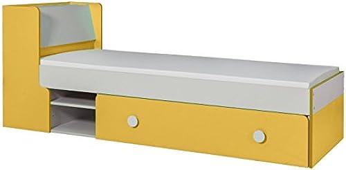 Kinderbett Jugendbett Harald 13 inkl. Schublade und Lattenrost, Farbe  Weiß Gelb - 80 x 195 cm (B x L)