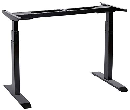 UNICOO - Electric Stand Up Desk Frame with Dual Motor, 3 Stage Up Lifting Legs, Rise UP Electric Adjustable Height and Width Standing Desk Frame with 4 Memory Keypad (Dual Motor Frame - Black)