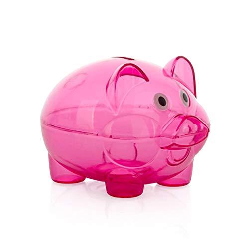 MXECO Rojo Transparente Caja de Ahorro de Dinero de plástico Caja Monedas Monedas Hucha de Dibujos Animados en Forma de Cerdo