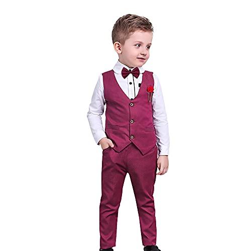 NoëL GarçOns VêTements Formels Chemise avec Noeud Papillon + Gilet + Pantalon Enfant en Bas âGe GarçOns Robe de SoiréE de Mariage Costumes Rouge ,6 ans,Rouge