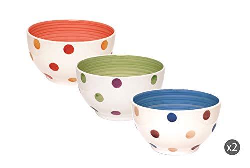 Excelsa Pois Set 6 Scodelle 600 ml, Ceramica, Multicolore