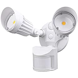 LEONLITE 2 Head LED Outdoor Security Floodlight Motion Sensor, Newly Designed 3 Lighting Modes, ETL & DLC Listed, 1800lm, Waterproof IP65 for Yard, Deck, Porch, 5-Year Warranty, 5000K Daylight, White