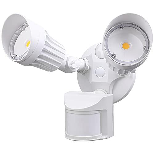LEONLITE LED Security Light, Motion Sensor Flood Lights Outdoor, Dusk to Dawn & Motion Detector 3 Modes, Adjustable 2-Head, IP65 Waterproof, 20W(150W Equiv.), 5000K Daylight, ETL Listed, White