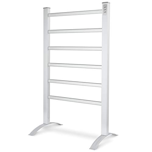 DAILYLIFE 2-in-1 Towel Warmer, with Built-in Timer, Heated Towel Rack, Freestanding & Wall Mounted, Aluminum Frame for Bathroom with 6 Bars