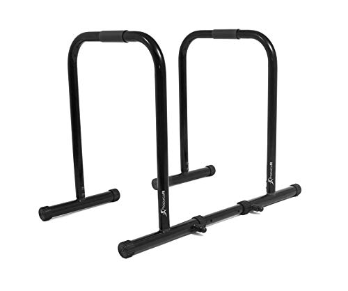 ProsourceFit Dip Stand Station, Heavy Duty Ultimate Body Press Bar with Safety Connector for Tricep Dips, Pull-Ups, Push-Ups, L-Sits, Black
