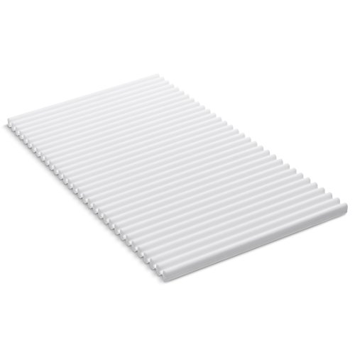 KOHLER Storable Silicone Dish Drying Mat or Trivet 7' x 11.8', Heat Resistant up to 500 Degrees F, White