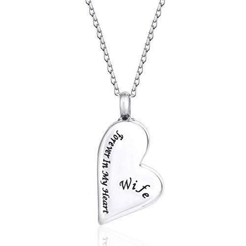 LXX-LX Accesorios personalizados, collares, Forma del corazón del acero inoxidable Memorial urna de plata collar esposa siempre en mi corazón cremación joyería collares del recuerdo, , esposa Collares