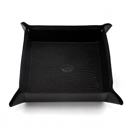 Aurora Torino - Bandeja de almacenamiento de piel auténtica, color negro