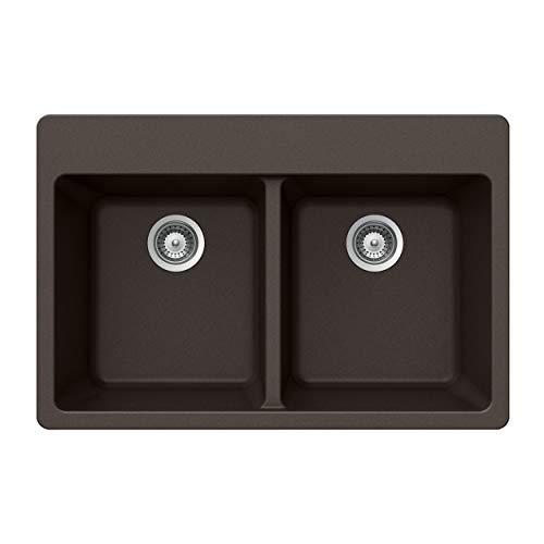 Houzer M-200 MOCHA Quartztone Series Granite Top Mount 50/50 Double Bowl Kitchen Sink, Mocha