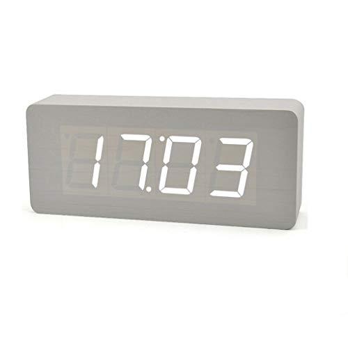 TQJ Despertadores Digitales Reloj despertador silencioso electrónico luminoso de alarma reloj de alarma reloj de madera Pantalla de temperatura Despertador reloj despertador digital LED reloj desperta