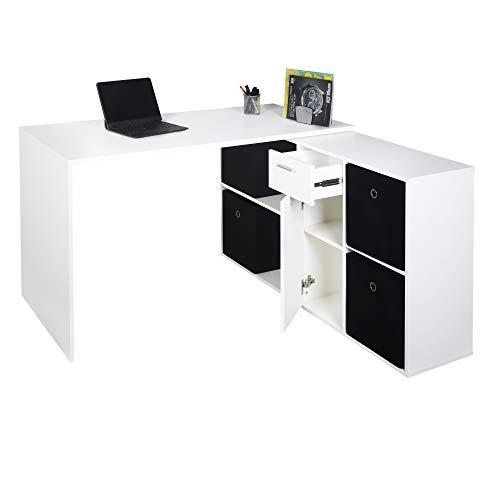 RICOO WM081-WM Schreibtisch Holz Hell Matt-Weiß Winkelkombination Arbeitstisch Bürotisch Computertisch Eckschreibtisch Akten Schrank Lowboard