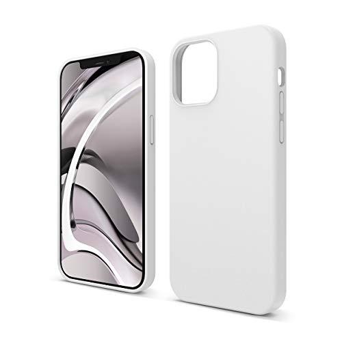 """elago Silicona Líquida Funda Compatible con iPhone 12 Case y Compatible con iPhone 12 Pro Case (6.1""""), Silicona Premium, Protección Funda Protectora 3 Tapas Estructura (Blanco)"""