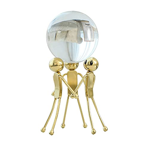 QTBH Crystal Ball Home Creative Transparent Crystal Ball Ornaments Porch Home Living Room Office Desktop Brass Craft Modern Decorations Natural Crystal Ball
