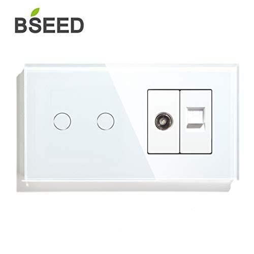 BSEED Touch Lichtschalter mit Steckdose 2 Fach 1 Weg mit Cat5 RJ45 Steckdose TV Antenne Koaxial und Ethernet Wandsteckdose Glas Platte Steckdose mit Lichtschalter Weiß
