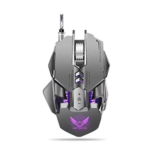WSJ kabelgebonden muis, macroprogrammeerbare muis, RGB-verlichting, instelbare DPI met 12 standen, 7 programmeerbare toetsen, geschikt voor games en kantoor, grijs