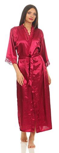AE Dames lange Kimono nachtmantel zijdenrobe ochtendjas nachtkleding lingerie satijn nachtkleding met kant maat S-XXL.