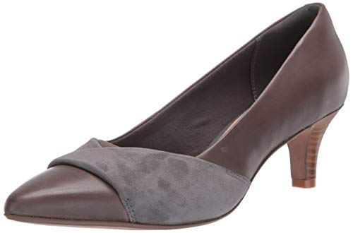 Clarks Womens Linvale Vena Pump, Grey Leather/Nubuck Combi, 070 M US