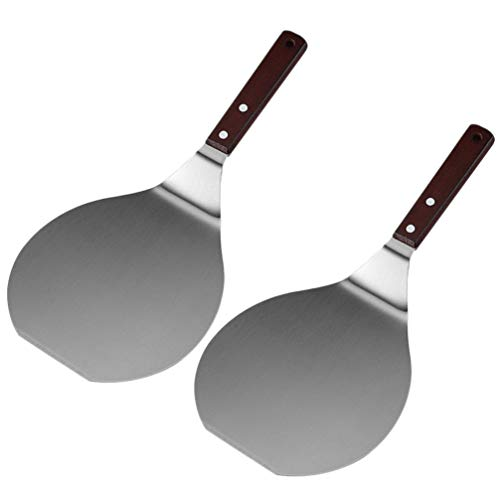 STOBOK Pizza Peel Paddle Shovel Espátula Pancake Tray Acero Inoxidable Mango de Madera Cake Lifter Cocina Herramienta para Hornear 2Pcs