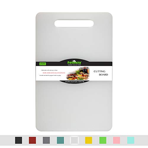 Fotouzy Plastic Utility Cutting Board with Handles, Food Safe PP Material, BPA Free, Dishwasher Safe, Thick Chopping Board, Large Size (15.5 x 10), Easy Grip Handle, for Kitchen (White)