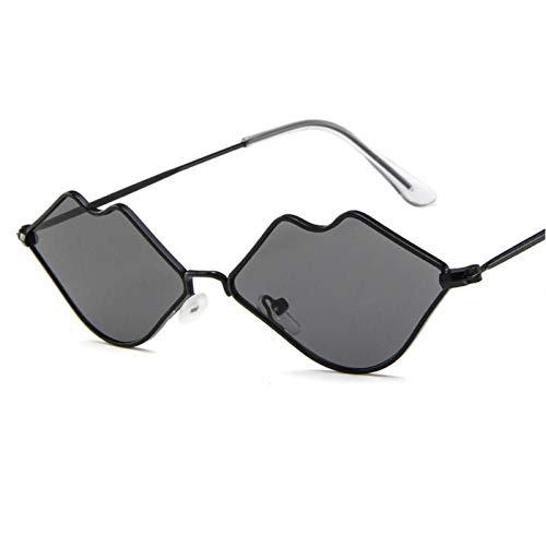ZZOW Gafas De Sol Vintage con Forma De Labios Únicos para Mujer, Gafas Transparentes con Lentes De Océano, Montura Metálica, Gafas De Sol De Moda para Mujer, Gafas Uv400