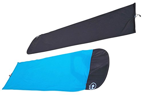 "Stretch SUP Board Sock Cover for Paddle Boards - Size 8'2 to 12'6 [Choose Color] 2 quality thick & hard wearing weave protects your board from sunlight, scratches, dirt and dings super stretchy fabric will accommodate boards up to 34"" 600D reinforced Fish or Round shape nose protector & drawstring barrel lock tail closure will fit your fin"