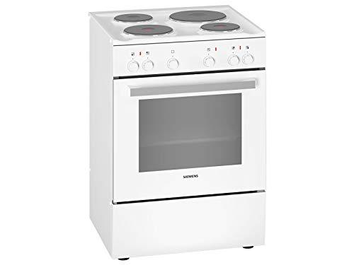 Siemens HQ5P00020 iQ300 freistehender Elektroherd mit Kochplatten aus Gusseisen / A / 60 cm / Weiß / granit Glanz-Emaille für einfache Reinigung