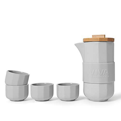 Teekanne mit 4 Teetassen im 5-teiligen-Set aus Porzellan, Teekanne Porzellan mit hochwertigen Bambus-Holz-Deckel, Hellgrau