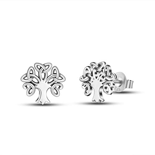INFUSEU Tree of Life Celtic Stud Earrings for Women Teen Girls Sterling Silver Cute Dainty Trendy Irish Small Jewelry