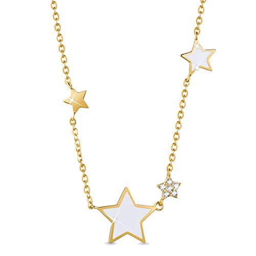 SHEGRACE Donne Collana con Stella del Pendente in Argento 925 Placcato Platino Epossidica Collana, Jeweled Regalo dello Smalto, 400 mm