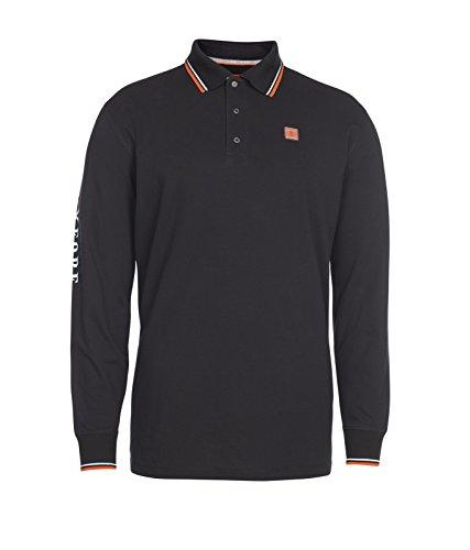 Xfore Golf Herren Langarm Poloshirt Kingston mit bedrucktem Ärmel, in Schwarz, Gr XL