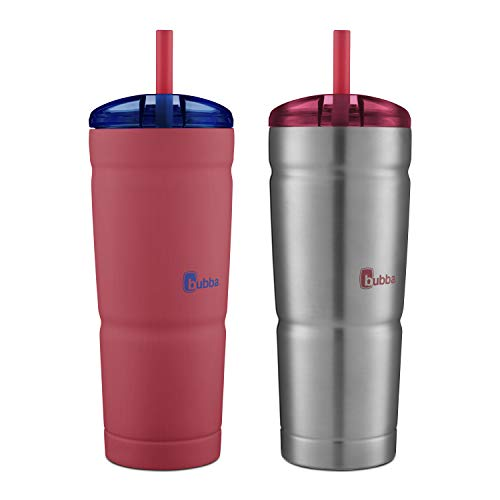 Bubba Envy S Insulated Stainless Steel Tumbler with Straw - 24oz,  Luau and Stainless Steel, 2 pack