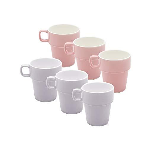 MC Trend 6er Set Tassen Kaffeebecher Becher Pott Geschirr Cafe Bistro Kantine Frühstück Brunch Teetasse Geschenk-Idee (6er Set Rosa/Flieder)