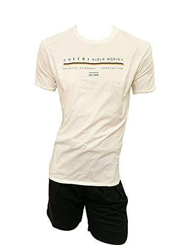 Enrico Coveri Homewear - Conjunto deportivo para hombre, camiseta + pantalón, juego de verano de algodón, pijama para hombre corto de verano Cm/Up Crema + 9301 Negro XL