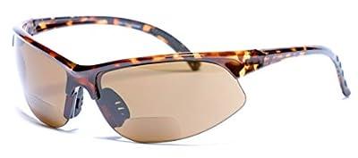 """The Illustrious"" Polarized Bifocal Sport Wrap Sunglasses (Tortoise, 2.5)"