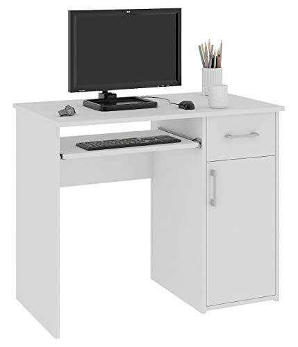 Megaastore Escritorio Color blanco Mesa de ordenador Mesa de oficina mesa de trabajo