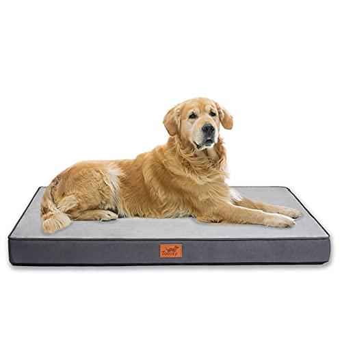 Toozey Cama para Perros Grandes/Medianos/Pequeños con Funda Extraíble Lavable, Cama Ortopédica Impermeable con Forma Huevo para Perros, Cama Colchón Transpirable para Mascotas, 104x73x8cm, Gris Oscuro