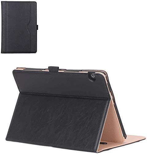 ProCase Huawei MediaPad T5 Hülle, Stand Folio Hülle Cover für 10.1 Zoll Huawei MediaPad T5 (2018 Freigabe), mit Mehrere Blickwinkel, Dokumentenkartentasche -Schwarz