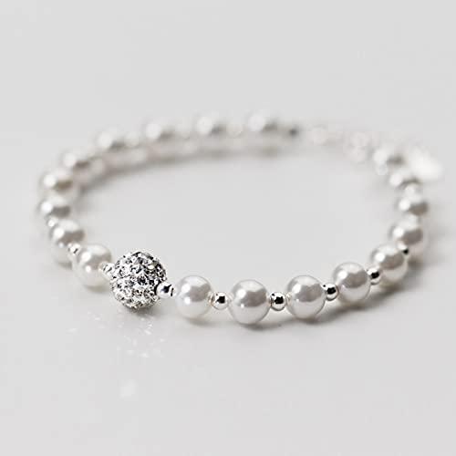 N/A Pulsera de Plata S925 para Mujer, Sensual, Dulce y Completa, con Cuentas de Concha de Diamantes, Pulsera de Perlas sintéticas, joyería de Mano para mujerAniversario