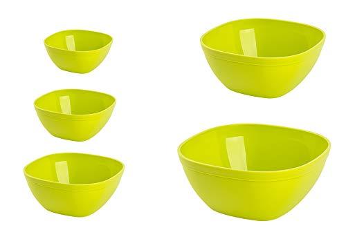 Juego de cuencos de mezcla, duraderos y reutilizables, individuales para aperitivos, desayuno, palomitas de maíz, vajilla para servir (verde)