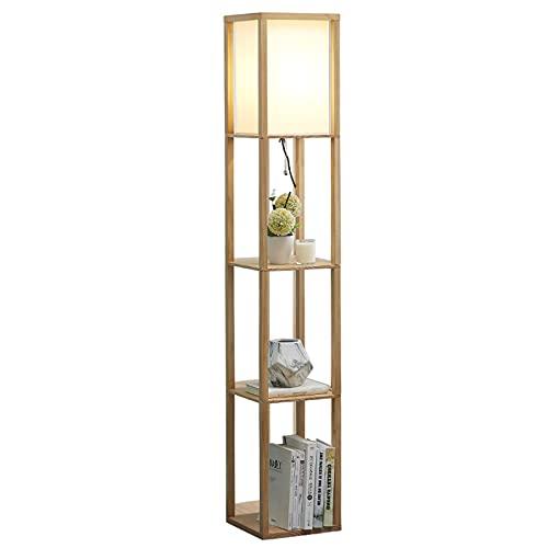 LANTING pantalla de tela Lámpara de pie retro con estante de madera - lámpara de pie de diseño con casquillo E27 (máx. 40W), iluminación de pie de 159cm con 3 compartimentos alambre, salón dormitorio